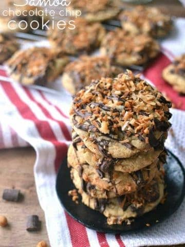 Samoa Chocolate Chip Cookies are a delicious twist on the Girl Scout classic!