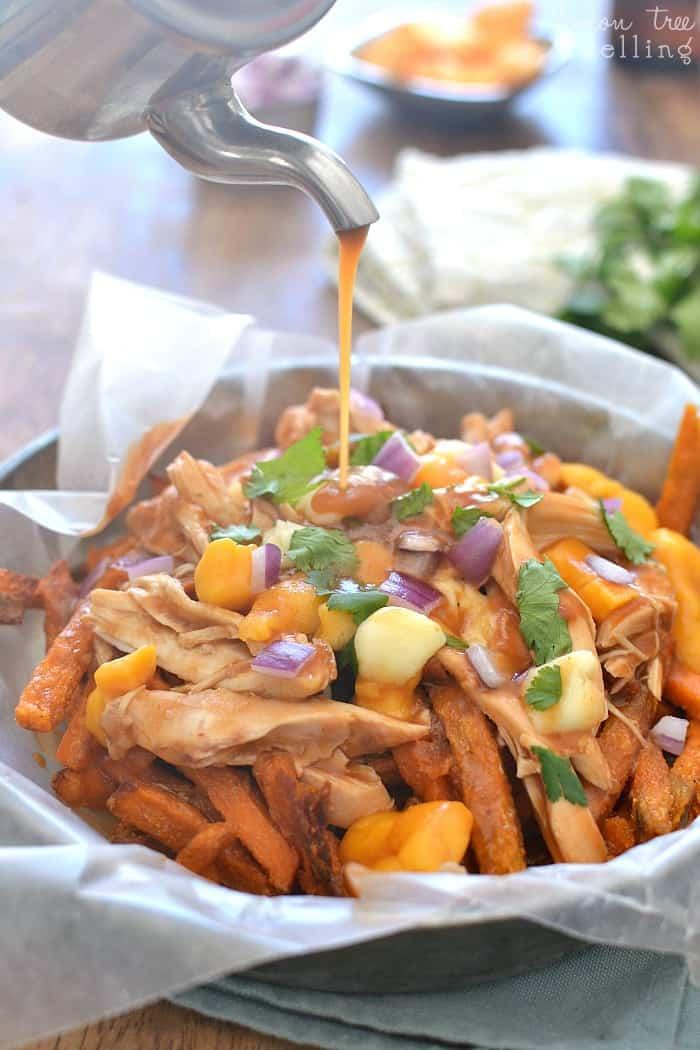BBQ Chicken Sweet Potato Poutine | Lemon Tree Dwelling