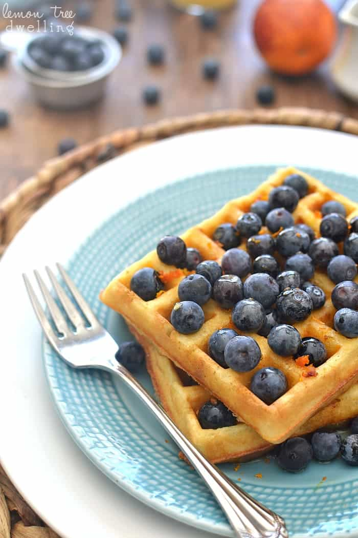 Blueberry Orange Waffles - flavored with orange juice and fresh orange zest and topped with warm vanilla maple syrup. YUM!