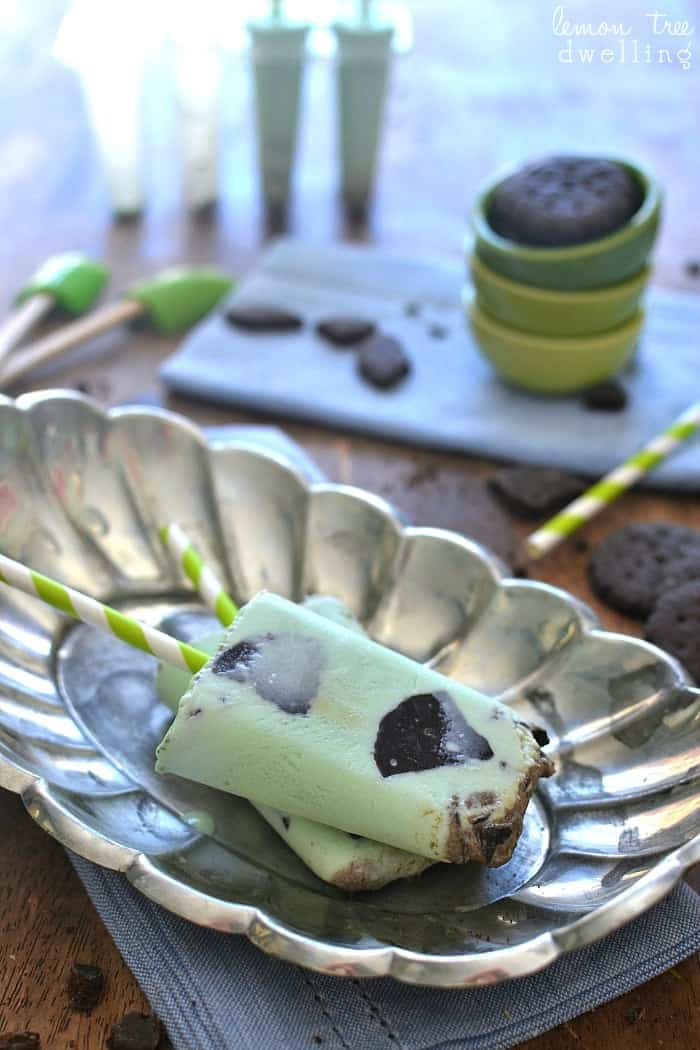 ... Cream Popsicles made with fresh cream and Thin Mint Girl Scout cookies