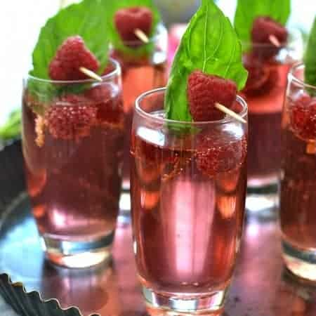 Raspberry Basil Champagne Spritzer 1b