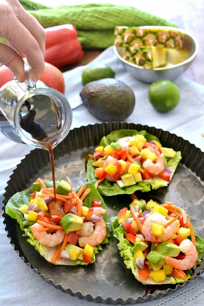Tropical Shrimp Lettuce Wraps with Honey Lime Soyaki Sauce - such a refreshing option for spring and summer! #mypicknsave #ad