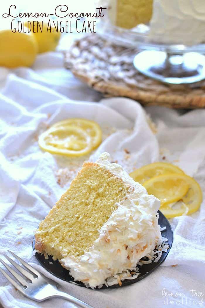 Lemon Coconut Golden Angel Cake 2 title