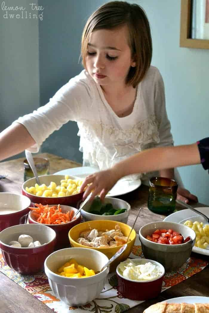 A kid-friendly pasta bar is a great way to create a #saucesome mealtime experience with the help of Ragu!