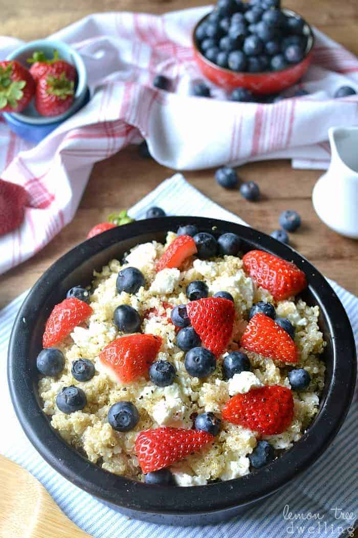 Red, White & Blue Quinoa Berry Salad. I LOVE this for Memorial Day or 4th of July!