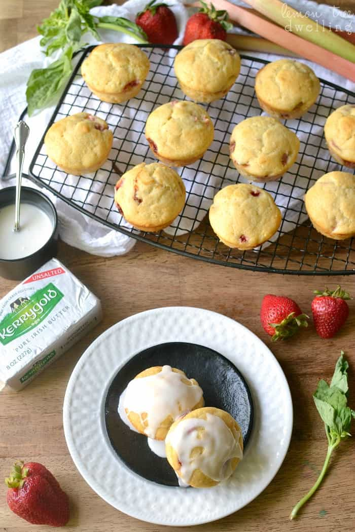 Strawberry Rhubarb Muffins with Sweet Basil Glaze. PERFECT for summer!