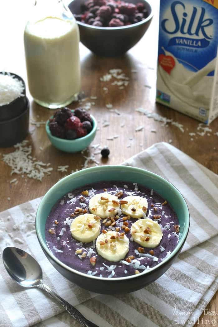 Triple Berry Banana Smoothie Bowl made with Silk Vanilla Soymilk. The BEST breakfast! #ilovesilksoy #ad