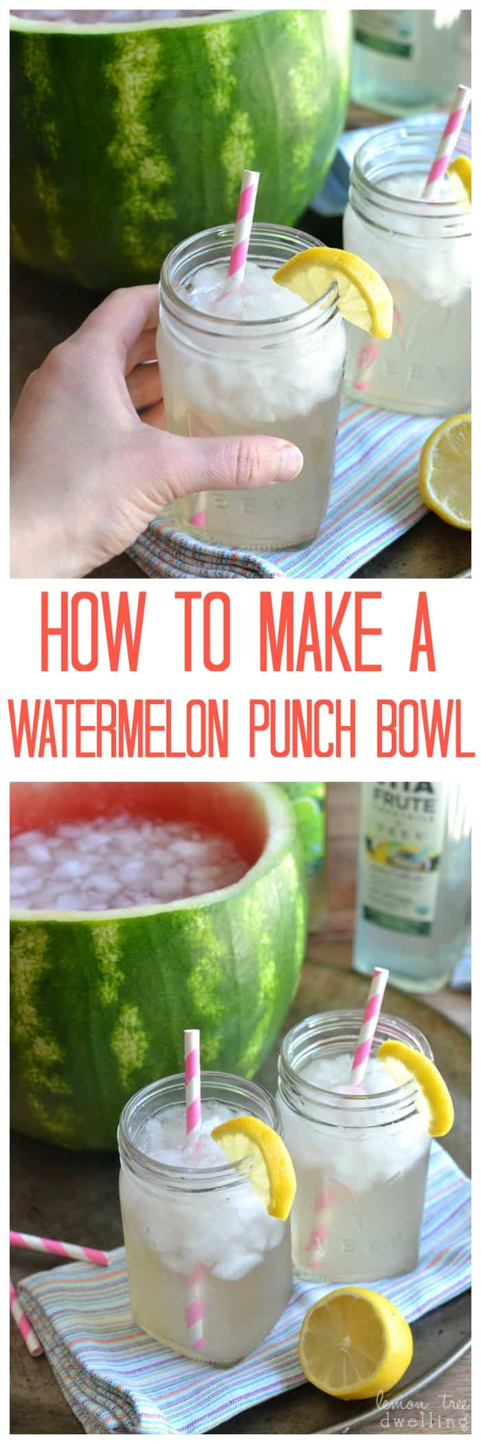 Watermelon Punch Bowl Tutorial & 10 Fun Ways to Bring Neighbors Together This Summer! #vitafrute #ad #bh