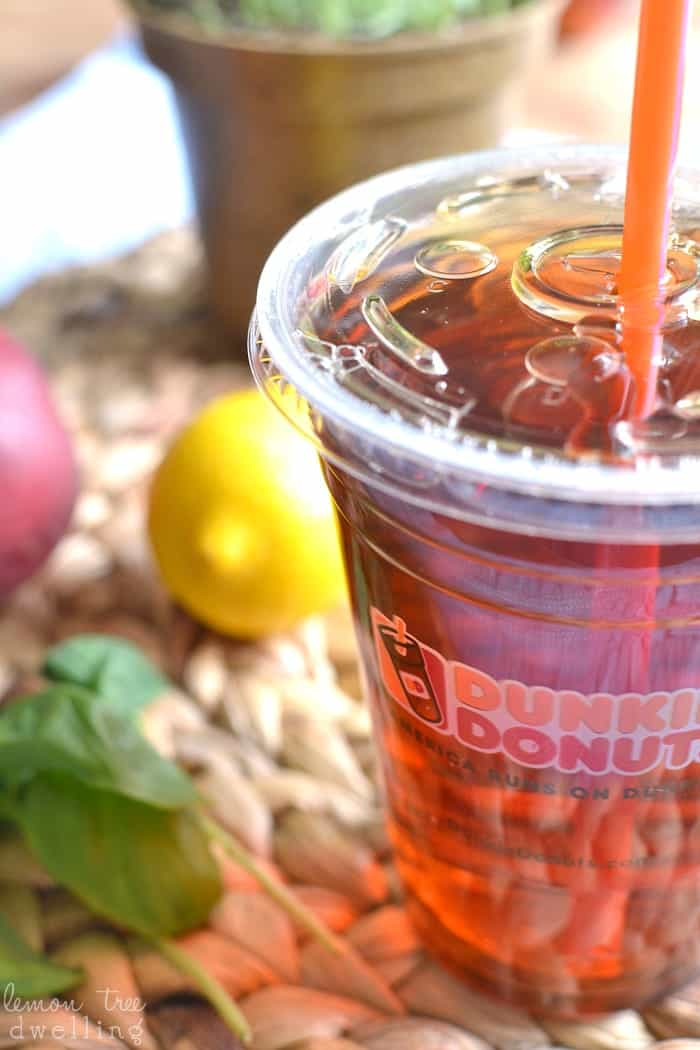 Basil Peach Iced Tea Lemonade. I'm in love with this flavor combo! #ddicedtea #ad