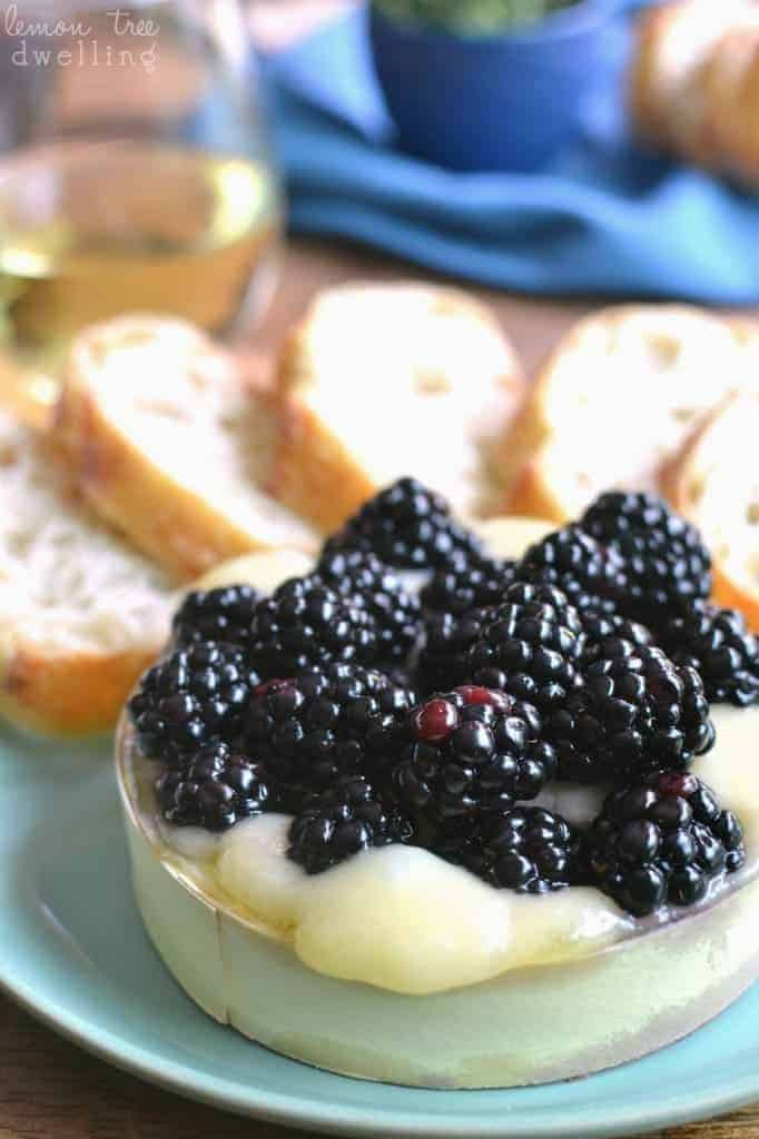 Baked Brie with fresh blackberries soaked in Cambria Julia's Vineyard Pinot Noir - a delicious summer appetizer! #cambriawines #sponsored