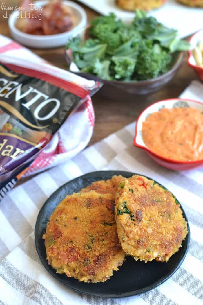 "Easy Chicken ""Crab"" Cakes! These delicious cakes are loaded with veggies, cheese, and bacon and sure to be a hit with the whole family! @sargentocheese #choppedathome #realcheesepeople #contest #ad"