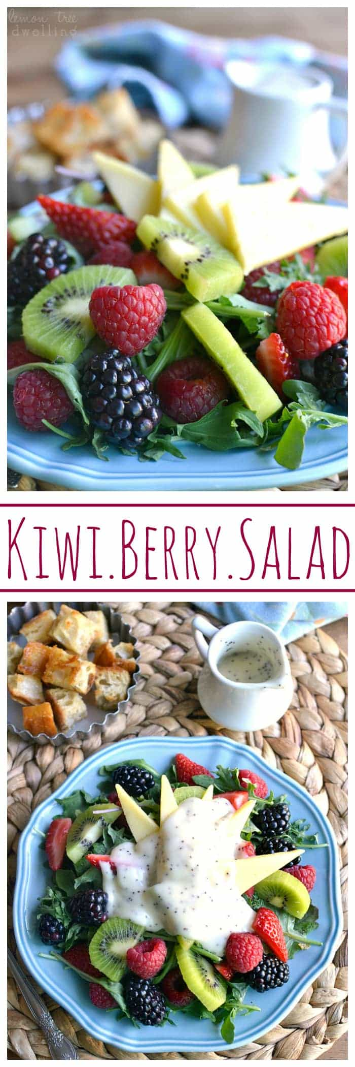 Kiwi Berry Salad with Kerrygold Gouda cheese, homemade honey butter croutons, and honey poppy seed dressing. Summer on a plate! #kggrassfed