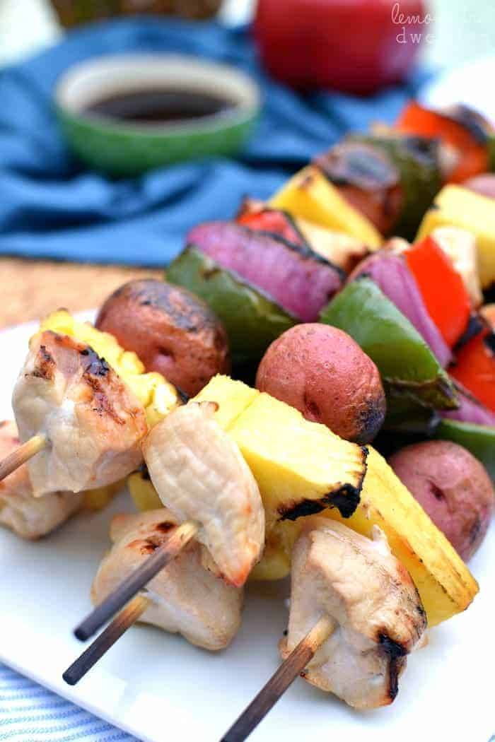 Grilled Chicken Kabobs with Honey Ginger Teriyaki Sauce. SO yummy ...