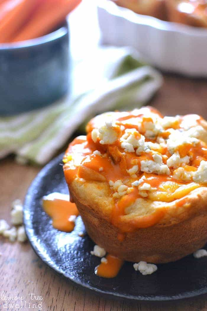 These Buffalo Chicken Pizza Cups are made with just 5 ingredients and are perfect for snack, lunch, or dinner! Make them in a muffin tin for an extra fun twist on pizza!