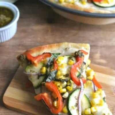 Garden Vegetable Pesto Pizza