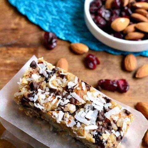 No-Bake Cranberry Almond Joy Granola Bars