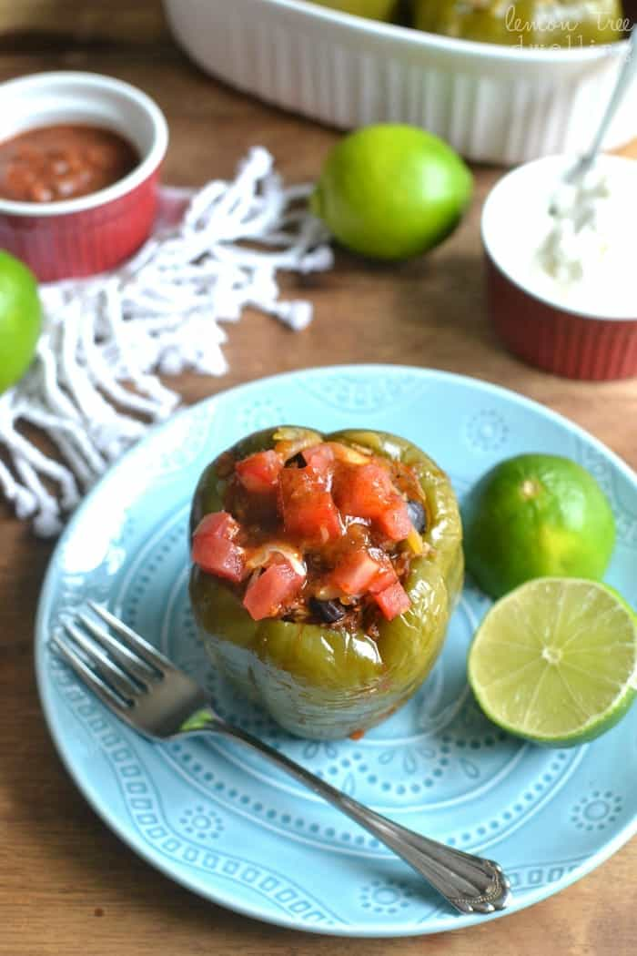 Fajita Stuffed Peppers - stuffed with fajita goodness and baked to tender perfection. Delicious for lunch or dinner, and ready in just 30 minutes!