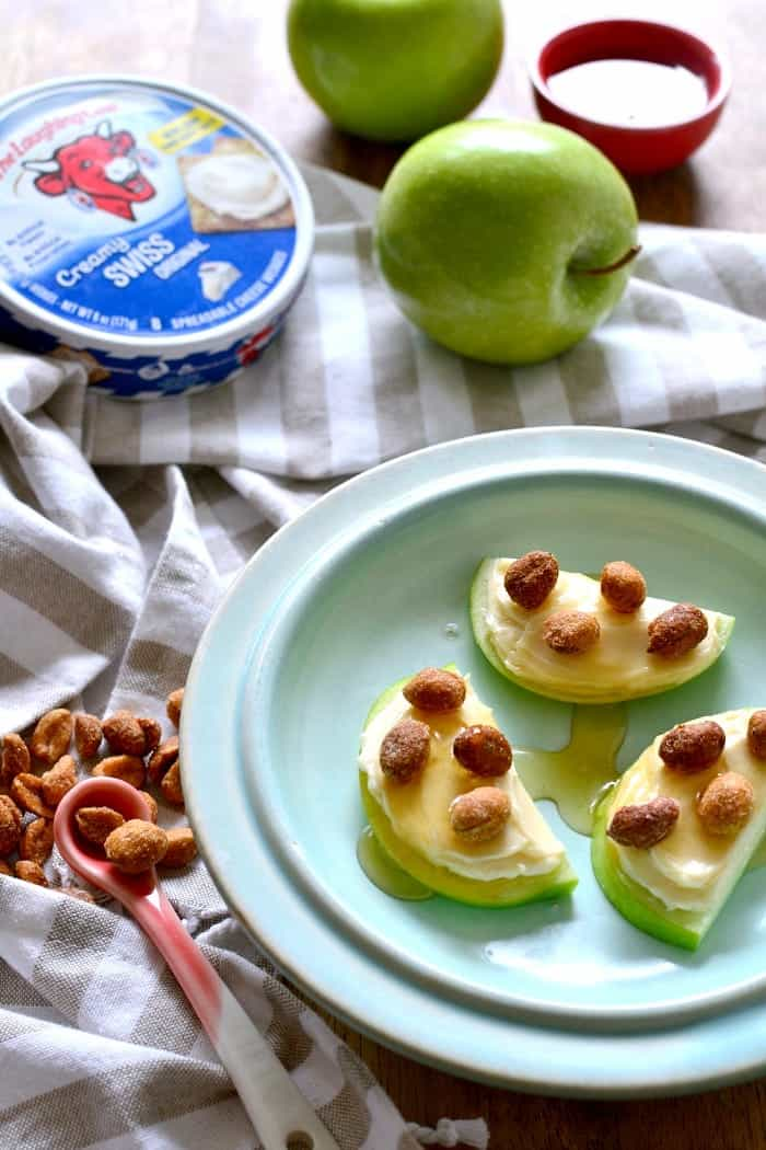 Honey Roasted Apple Dippers - just 4 ingredients and perfect for fall! (Sponsored by The Laughing Cow, but I LOVE this cheese!)