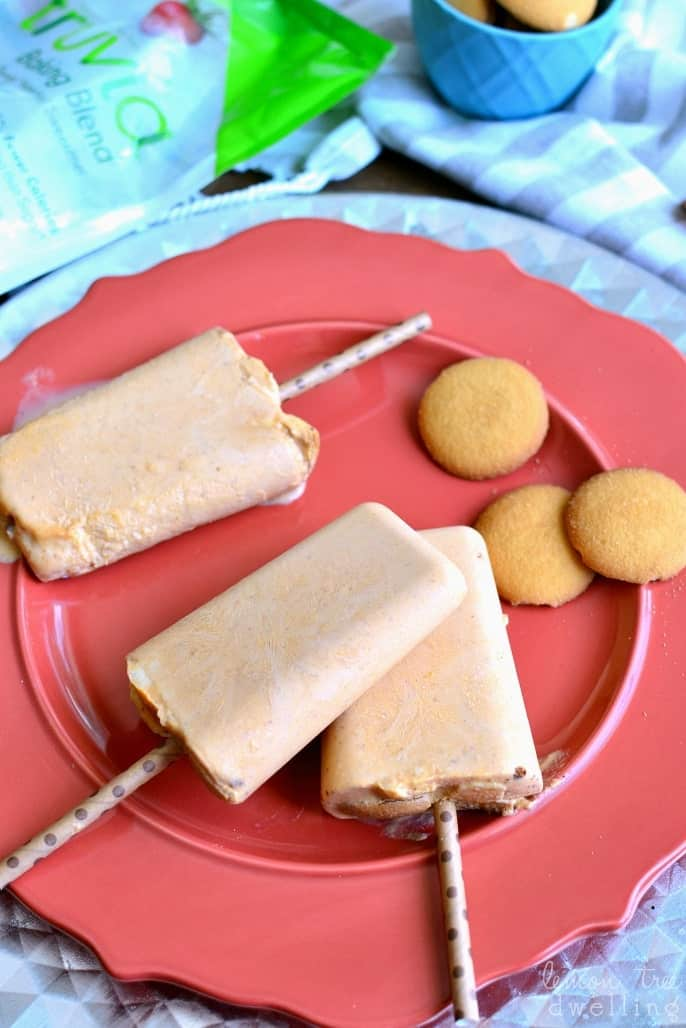 """Skinny Pumpkin Pie Popsicles made with Truvia®! These popsicles are rich, creamy, and packed with pumpkin flavor. So delicious, you would never guess they're """"skinny""""!"""