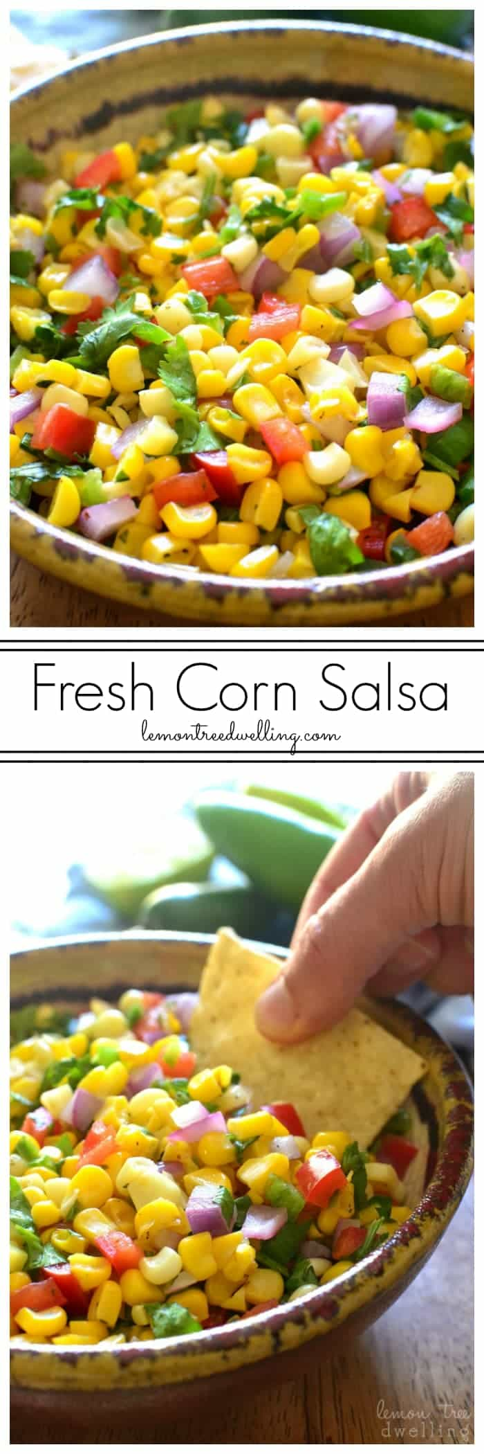 Fresh Corn Salsa - made with just 7 simple ingredients and perfect for dipping, topping, or eating by the spoonful!