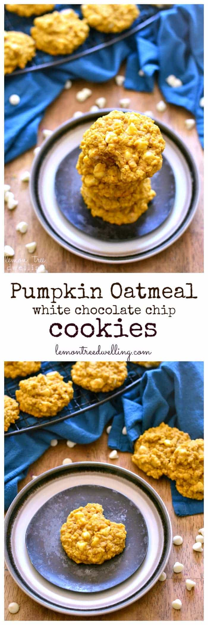 These Pumpkin Oatmeal White Chocolate Chip Cookies are perfectly chewy and packed with pumpkin flavor. They're so good, you can't eat just one!