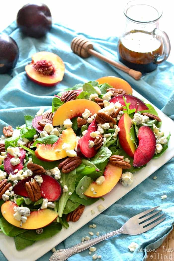 Salad combines sweet plums and nectarines with crunchy pecans, blue ...