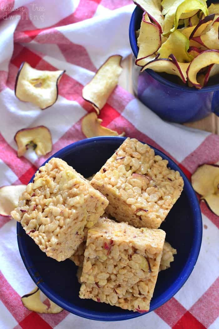 These Apple Cider Krispie Treats are flavored with apple cider mix and real apple chips! Such a delicious fall twist on a classic!
