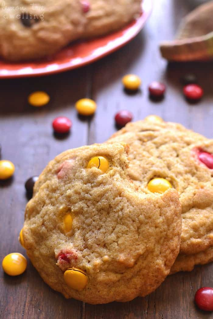 Pumpkin Spice M&M Cookies. Yum!!
