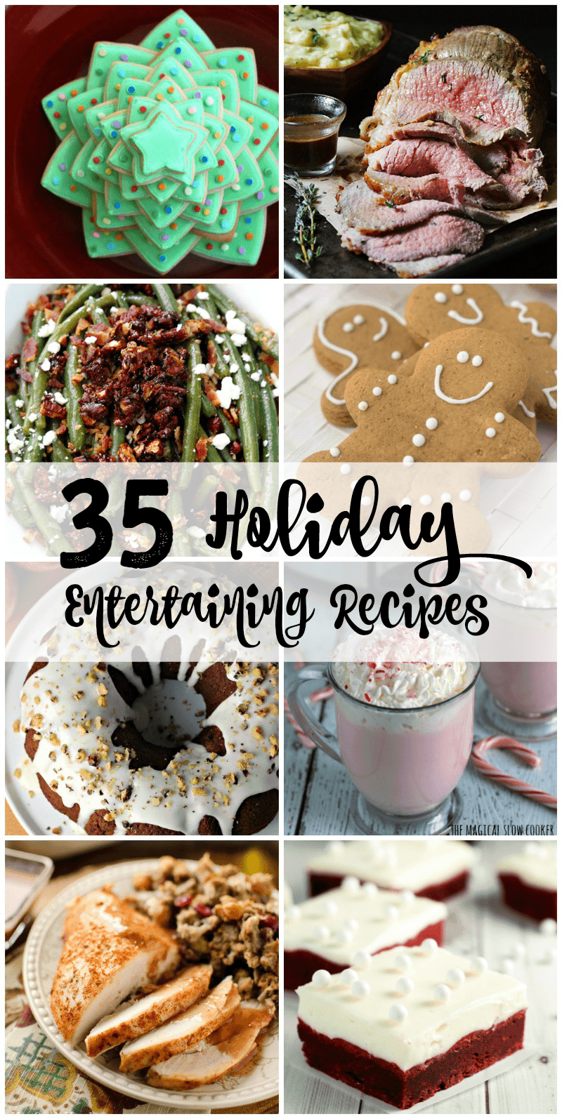 Holiday entertaining doesn't have to be stressful! Here are 35 recipes for holiday entertaining - everything you need to entertain guests for Thanksgiving ANDChristmas!