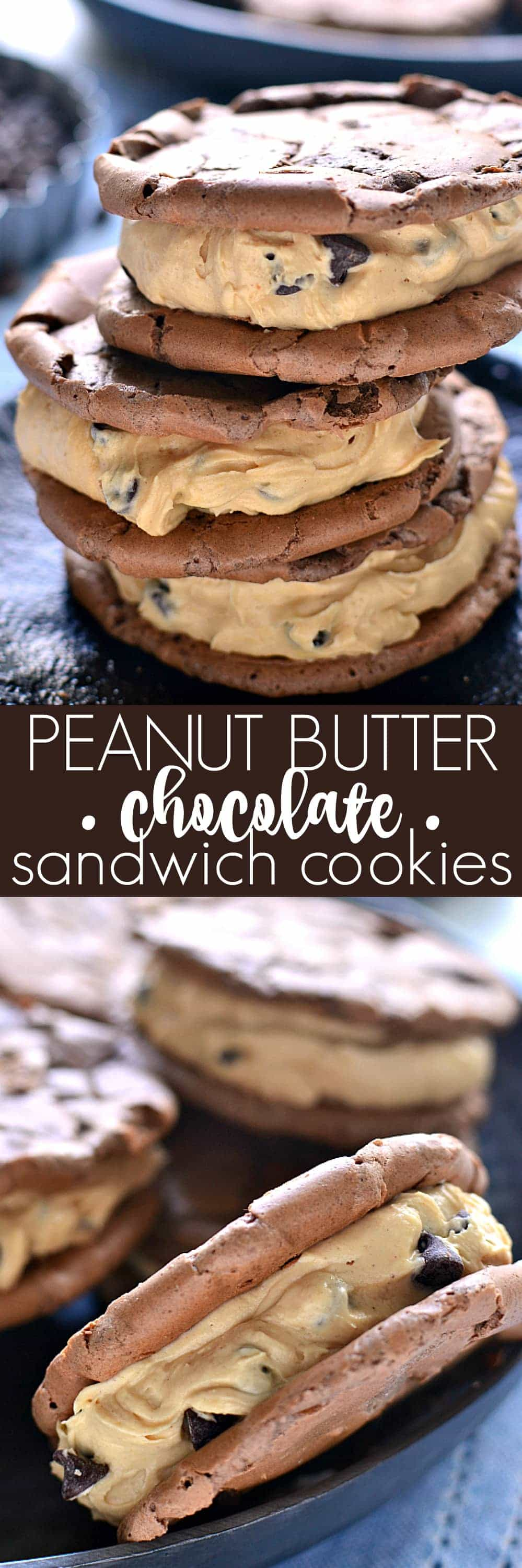 Peanut Butter Chocolate Sandwich Cookies combine chewy chocolate cookies and creamy peanut butter filling. This is the best peanut butter cookies recipe!