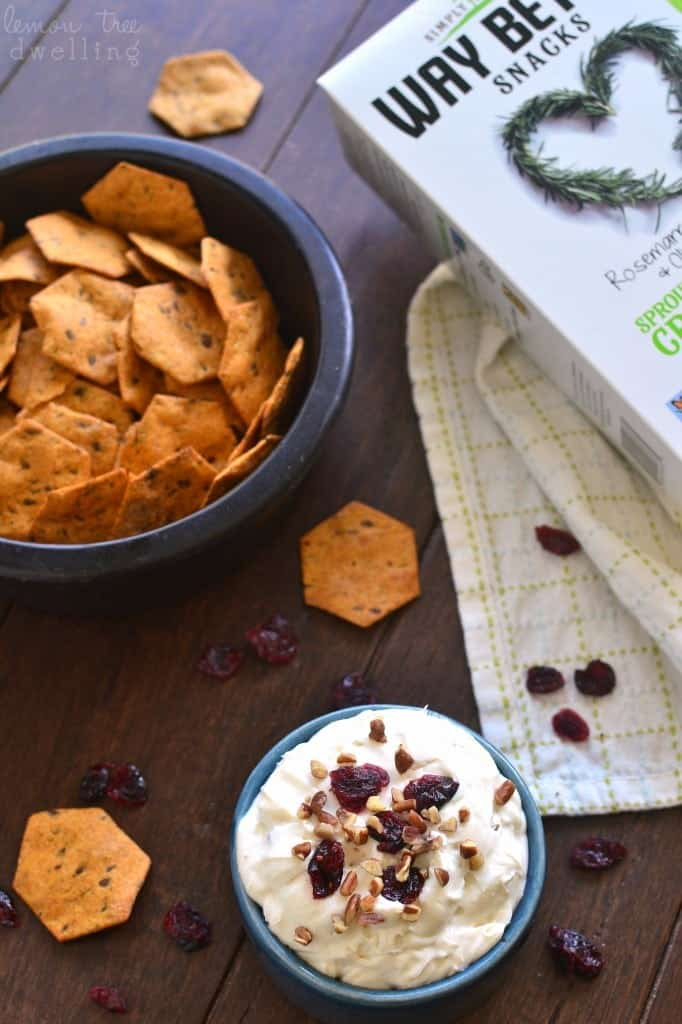 This Maple Pecan Cranberry Dip combines all the best flavors of fall in a delicious dip that's perfect for the holidays!