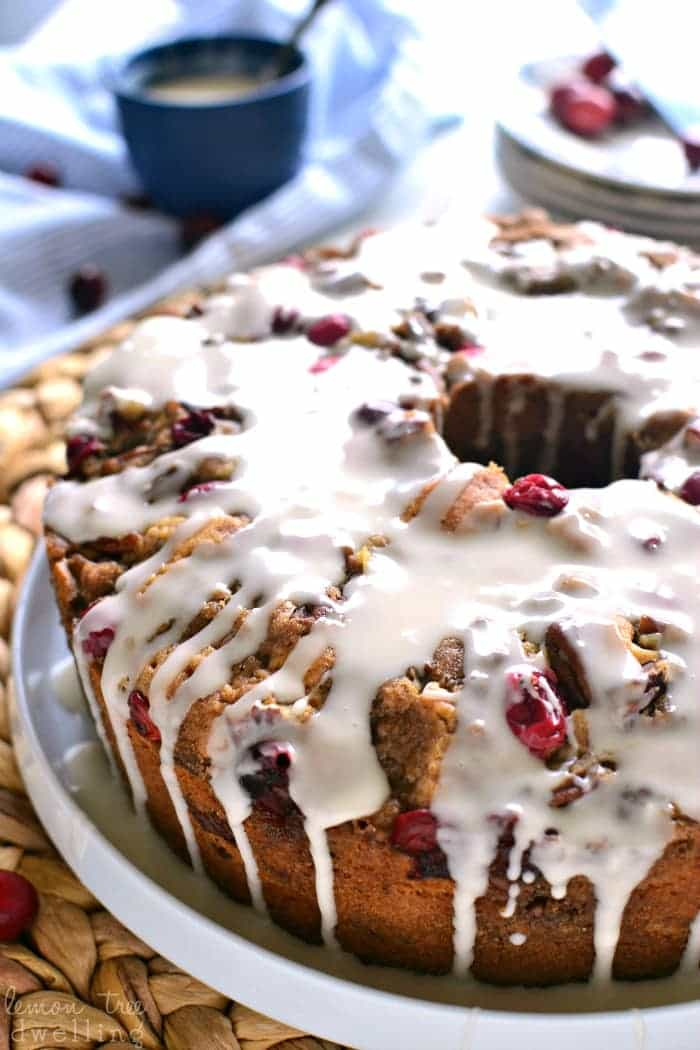 This Cranberry-Pecan Coffee Cake is packed with fresh cranberries ...