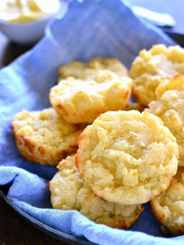 Easy Cheesy Muffin Tin Biscuits are rich, buttery, and loaded with the delicious flavor of pepper jack cheese. They come together in 5 minutes or less and make the perfect addition to your holiday table!