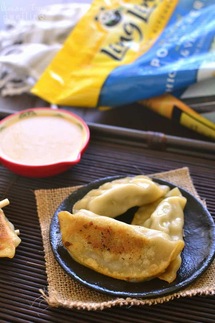This Creamy Ginger-Soy Dipping Sauce is sweetened with honey and perfect for dipping pot stickers, spring rolls, or your favorite Asian appetizers!