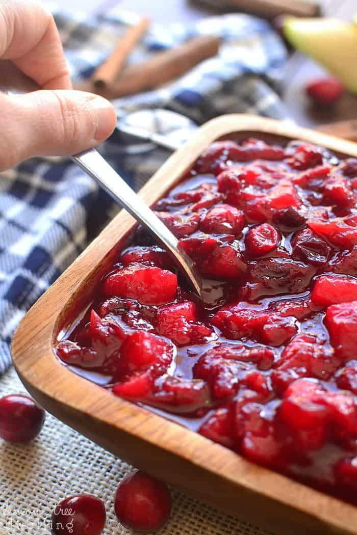 This Spiced Cranberry-Pear Sauce is deliciously sweet and tart, with hints of cinnamon, ginger, nutmeg, and allspice.