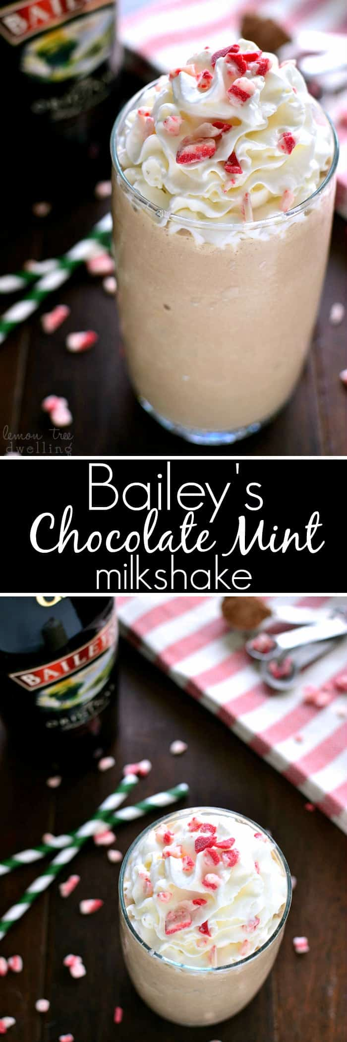 Bailey's Chocolate Mint Milkshake is everything you could want in a milkshake. This holiday drink is so rich and creamy, you won't want to stop at one!