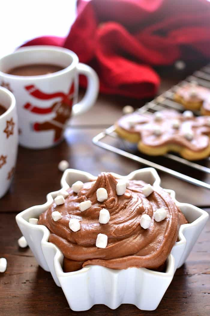 This Hot Chocolate Buttercream Frosting is the perfect addition to your favorite holiday treats. Use it on everything from cookies to cupcakes to bars and more! 'Tis the season!