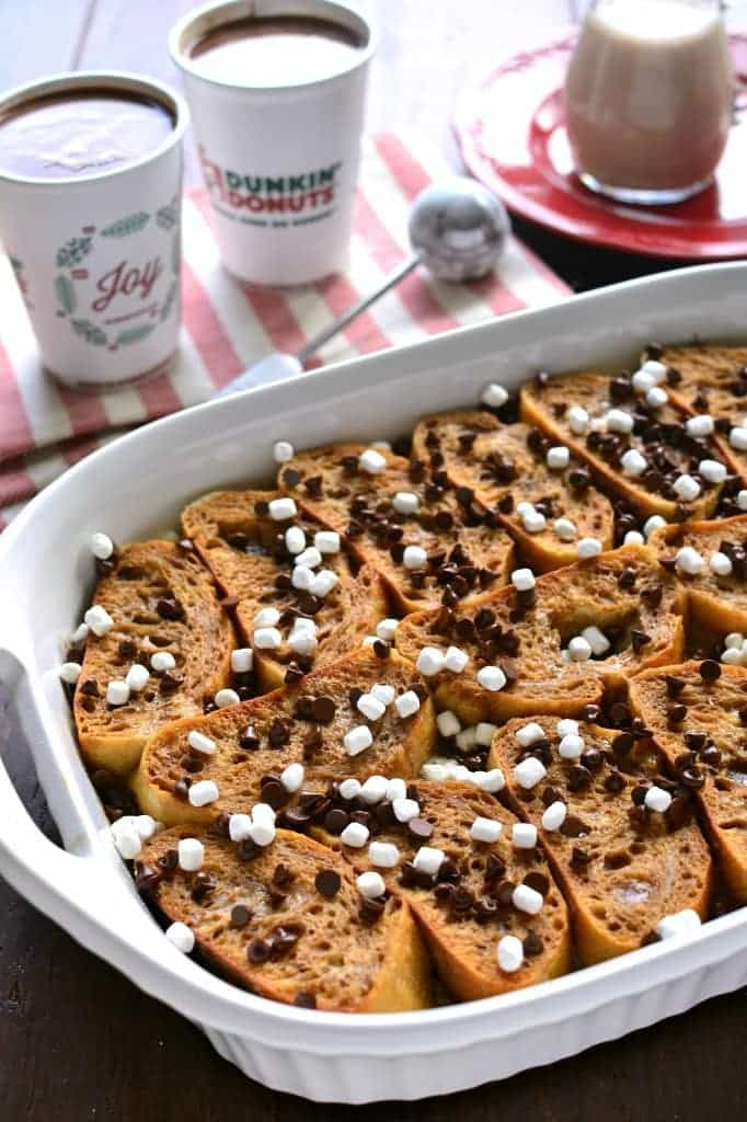 This Hot Chocolate Baked French Toast is prepped the night before, so it's ready in the morning! Loaded with Dunkin' Donuts Hot Chocolate and drizzled with hot chocolate glaze, this is one breakfast that's worthy of a celebration!