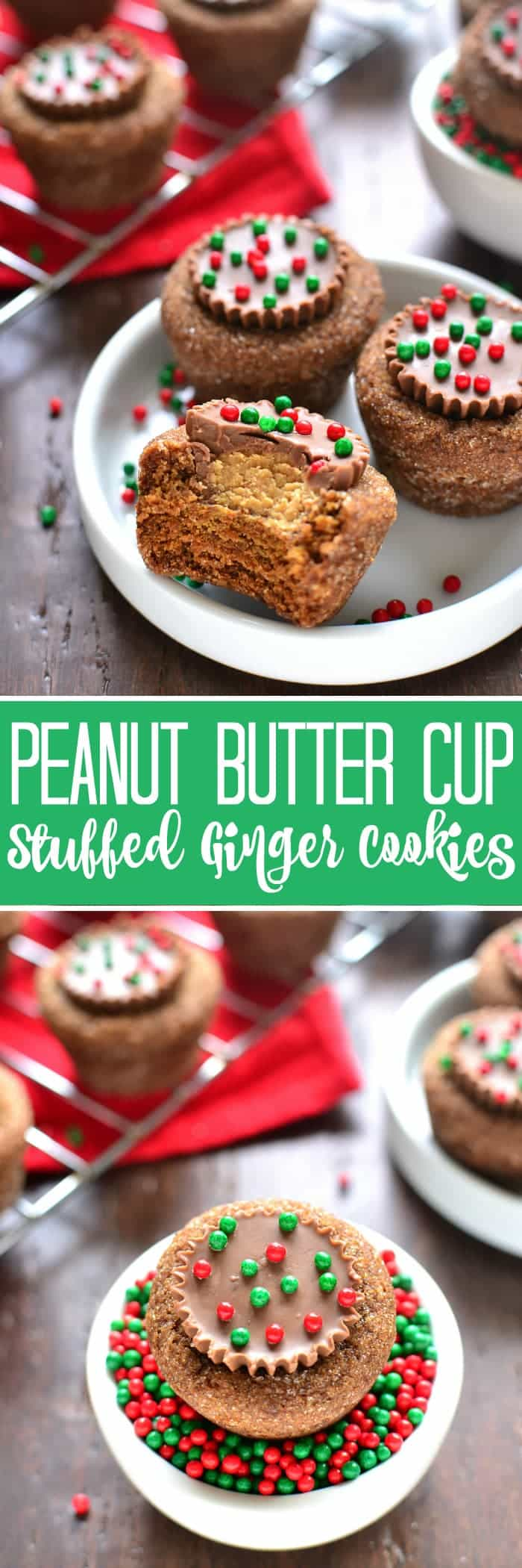 These Peanut Butter Cup Stuffed Ginger Cookies are deliciously sweet with an unexpected twist! The perfect addition to your holiday cookie plate!