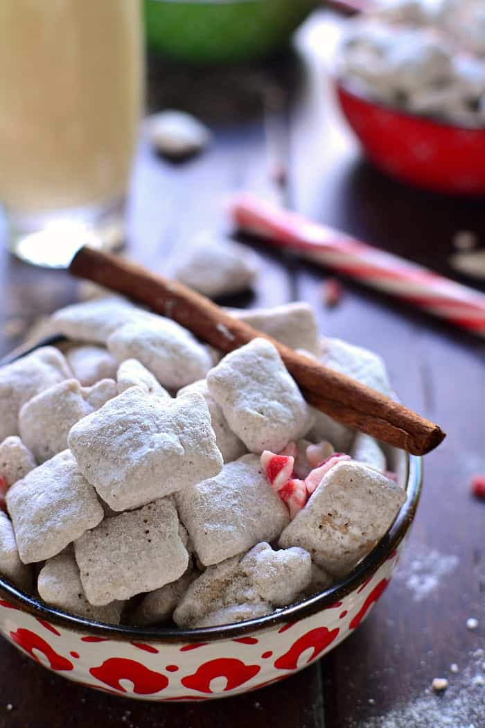 Peppermint Eggnog Muddy Buddies combine two classic flavors in a holiday treat that's as simple as it is delicious! This 5 minute holiday snack is a fan favorite!