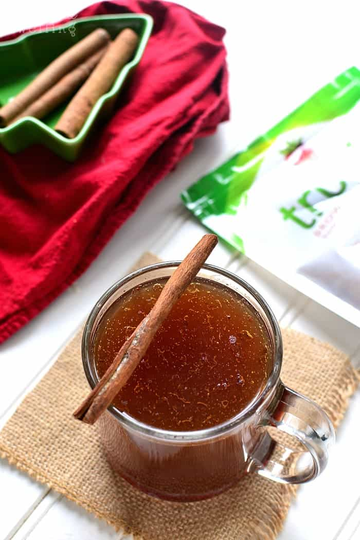 This Skinny Hot Buttered Rum is packed with the delicious flavors of cinnamon, nutmeg, and brown sugar....and all lightened up for the holidays!