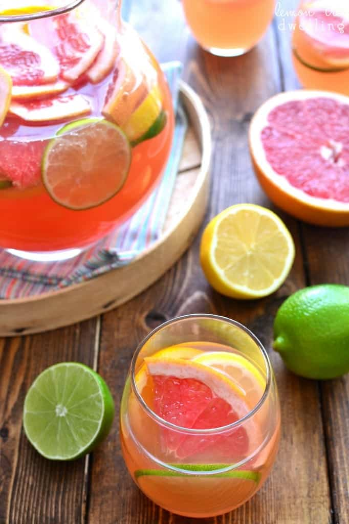 Delicious Citrus Sangria is made with just 4 simple ingredients and loaded with fresh citrus fruit. Perfectly refreshing any time of year!