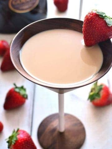 Chocolate Strawberry Martini is made with just three delicious ingredients and perfect for a celebration!