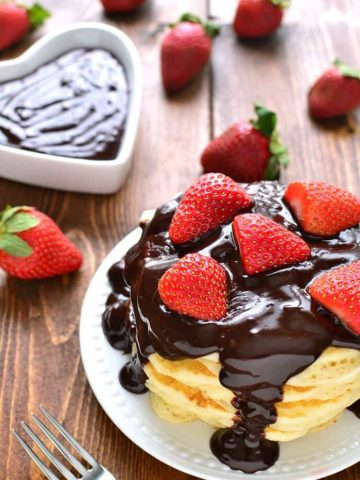 Chocolate Covered Strawberry Pancakes are so delicious and perfect for Valentines day