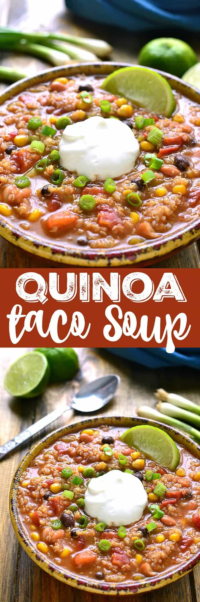 Quinoa Taco Soup is so quick and easy and full of quinoa