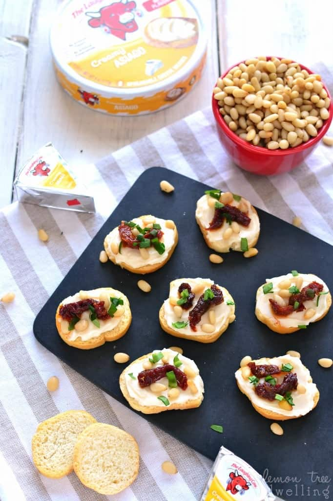 Sun Dried Tomato Asiago Crostini is made with just 5 simple ingredients and packed with delicious flavor! Perfect for snacking, sharing, or serving at your next party!
