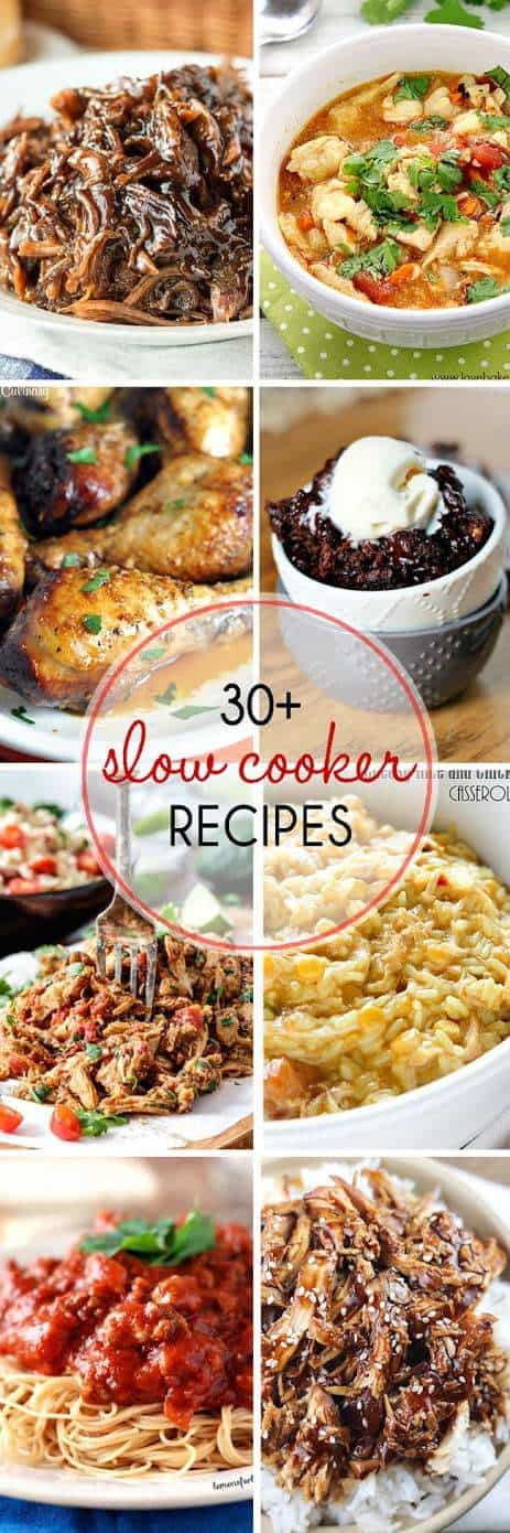Enjoy over 30 Slow Cooker Recipes to help you get dinner on the table - even on busy nights! Delicious and easy to prepare, these awesome dinners will be loved by all.