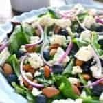 Blueberry Feta Salad is your new go-to salad recipe for spring! It combines fresh blueberries with feta cheese, almonds, and a lemon poppy seed vinaigrette dressing.