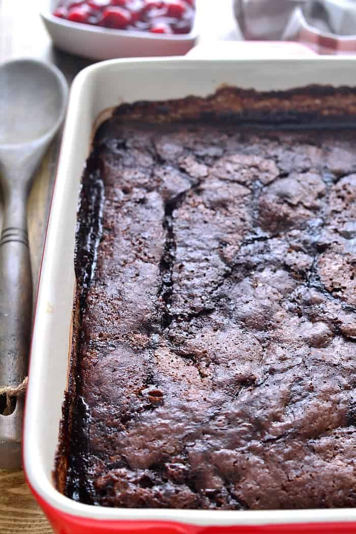 This Chocolate Fudge Pudding Cake is chocolate cake on top and ooey gooey fudge pudding underneath - a chocolate lover's DREAM!!!