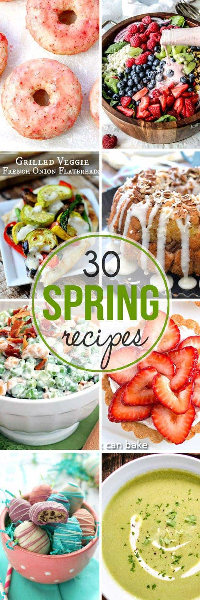 30 Spring Recipes - everything from soup to salad to breakfast and dessert - just in time for the start of spring!